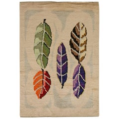 Midcentury Modern Scandinavian Rug with Colorful Leaves