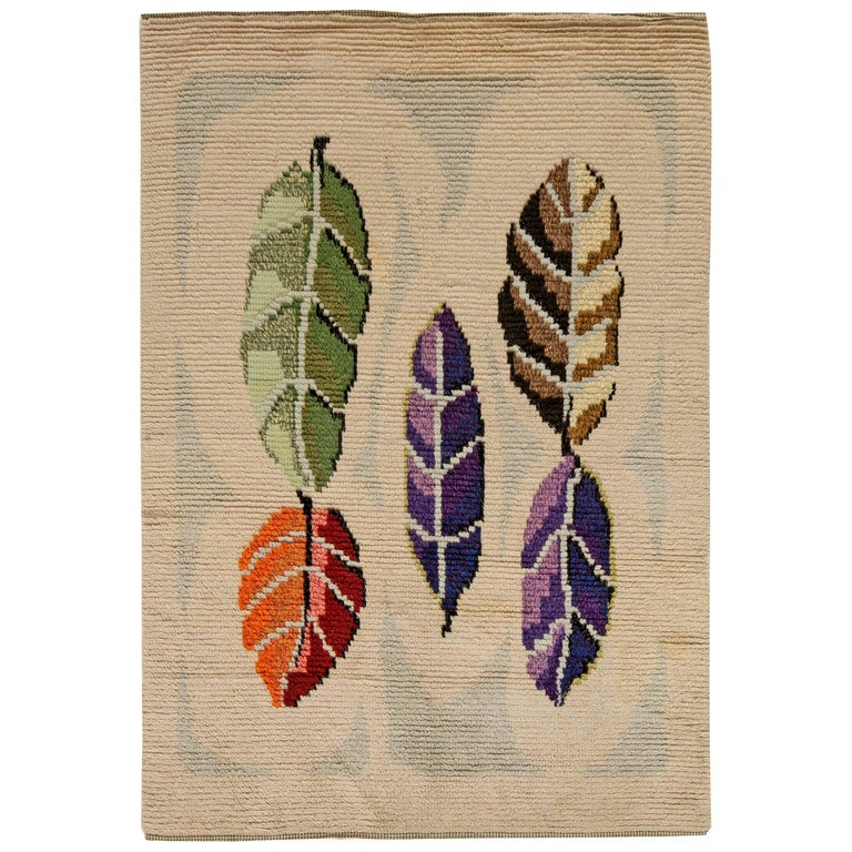 Midcentury Modern Scandinavian Rug with Colorful Leaves For Sale