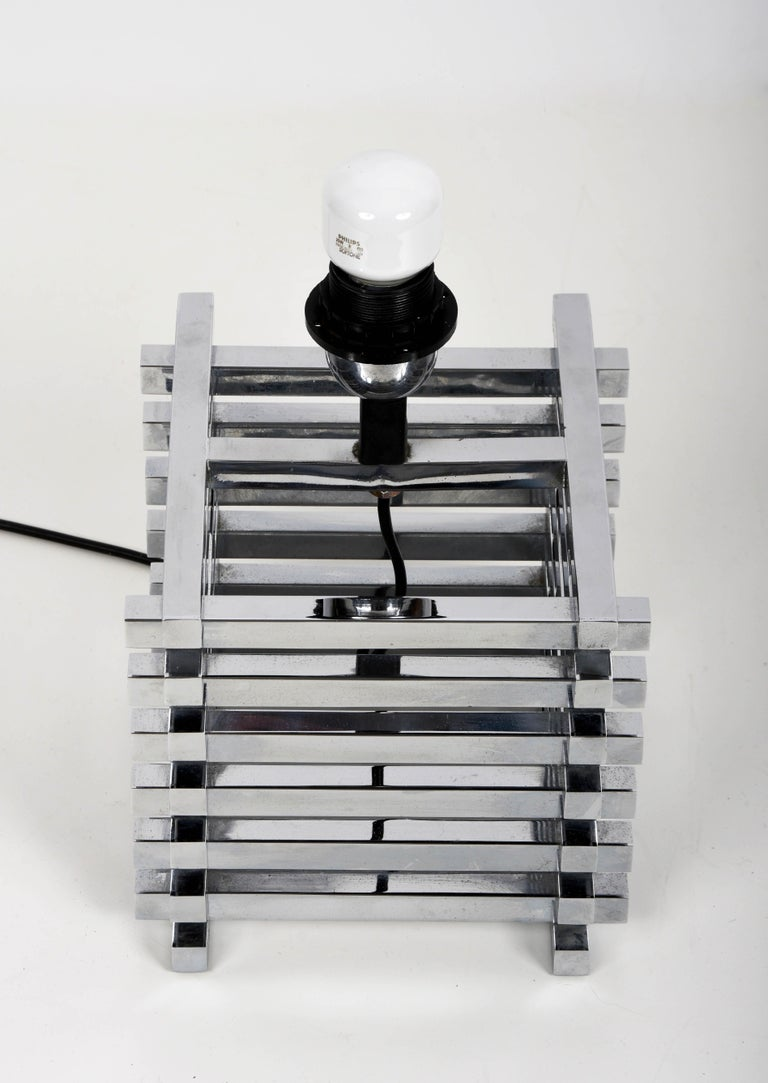 Mid-Century Modern Sciolari Italian Chromed Brass Cage Table Lamp, 1970s 6
