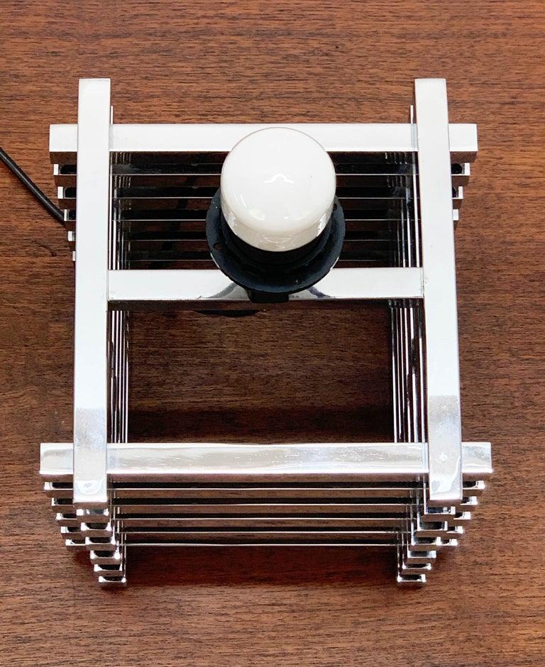 Mid-Century Modern Sciolari Italian Chromed Brass Cage Table Lamp, 1970s 8