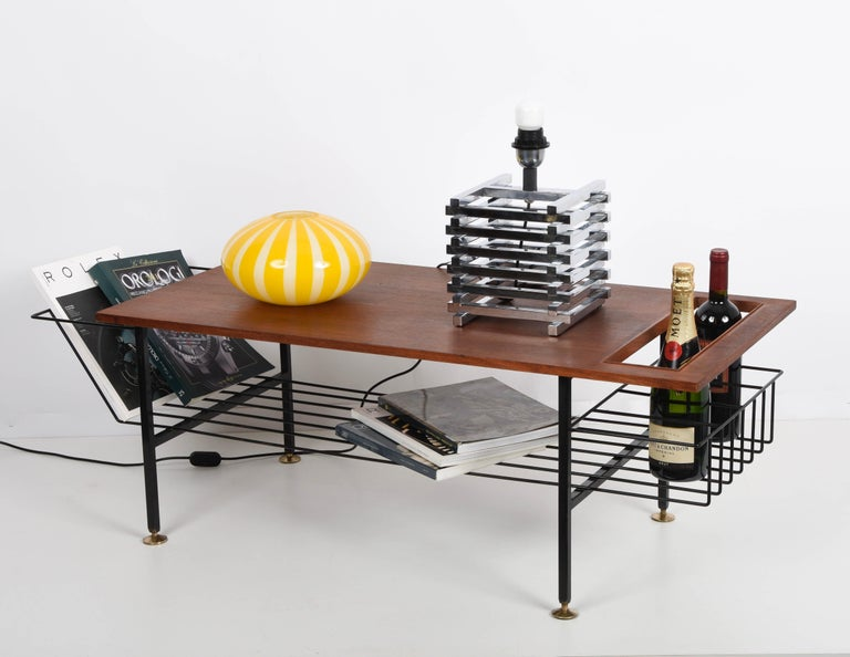 Mid-Century Modern Sciolari Italian Chromed Brass Cage Table Lamp, 1970s 11