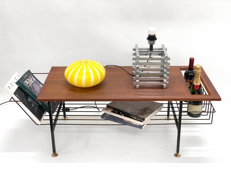 Mid-Century Modern Sciolari Italian Chromed Brass Cage Table Lamp, 1970s 12