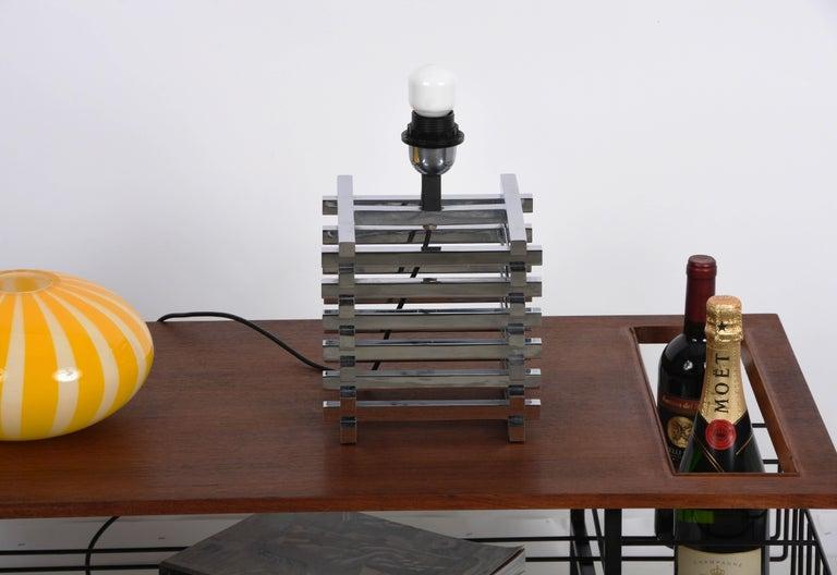 Mid-Century Modern Sciolari Italian Chromed Brass Cage Table Lamp, 1970s 1