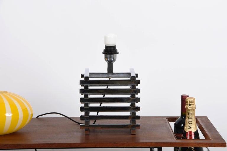 Mid-Century Modern Sciolari Italian Chromed Brass Cage Table Lamp, 1970s 2