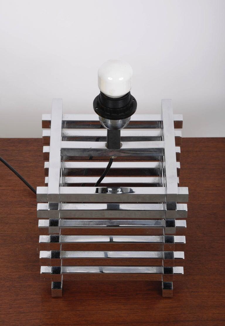 Mid-Century Modern Sciolari Italian Chromed Brass Cage Table Lamp, 1970s 3