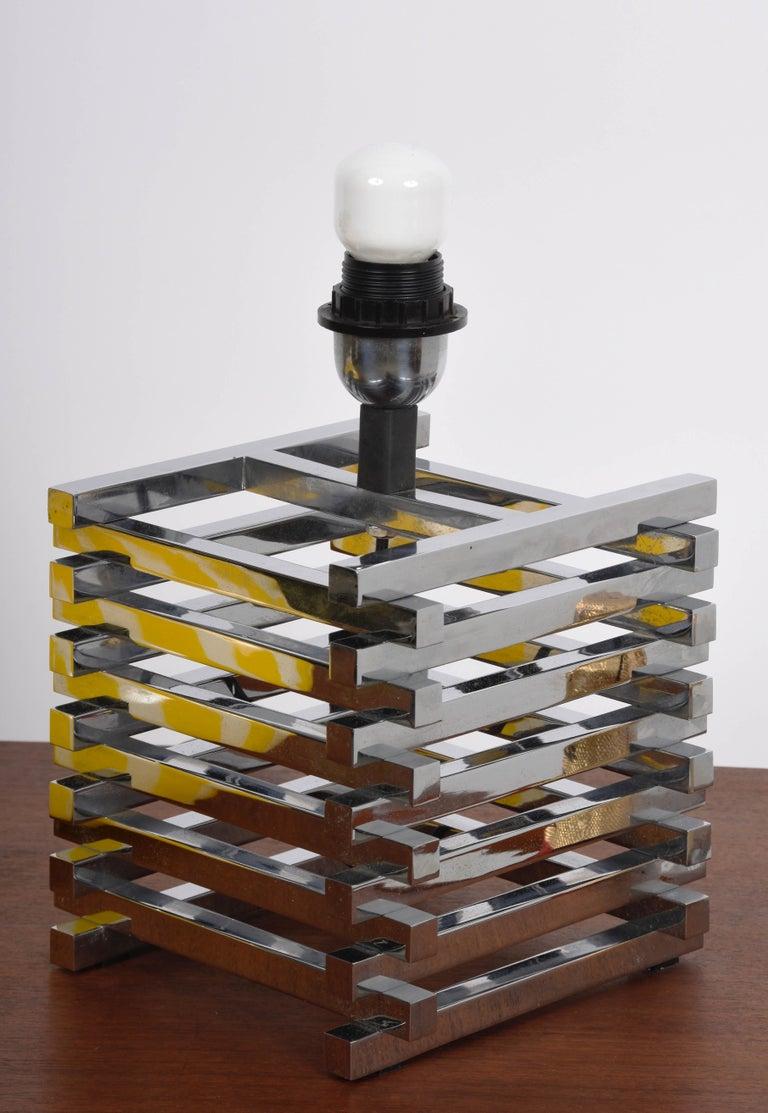 Mid-Century Modern Sciolari Italian Chromed Brass Cage Table Lamp, 1970s 4