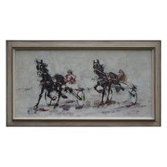 Mid-Century Modern Semi Abstract Oil on Canvas Horse Painting of Harness Racing