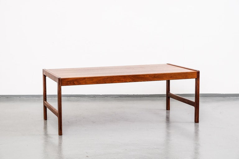 Big midcentury teak coffee table by Folke Ohlsson for Tingströms, Sweden, makers mark stamped underneath. Beautifully crafted and excellent vintage condition.  Legs will be dismounted for shipping.