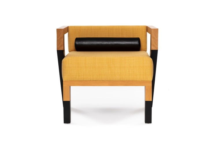 Mexican Mid-Century Modern Style Minimal Solid Wood Armchair Upholstered in Textile For Sale