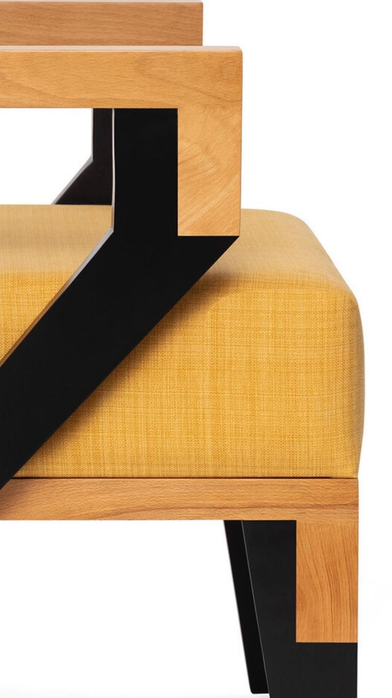 Hand-Crafted Mid-Century Modern Style Minimal Solid Wood Armchair Upholstered in Textile For Sale