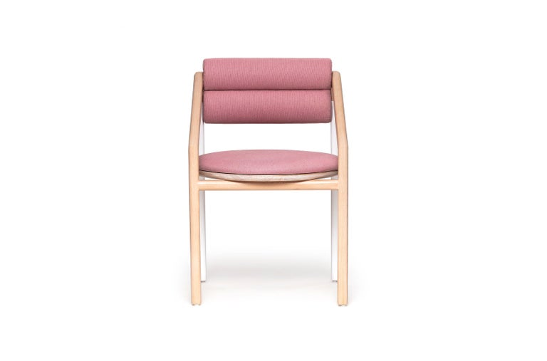 Mexican Mid-Century Modern Style Solid Minimal Wood Chair Upholstered in Textile For Sale