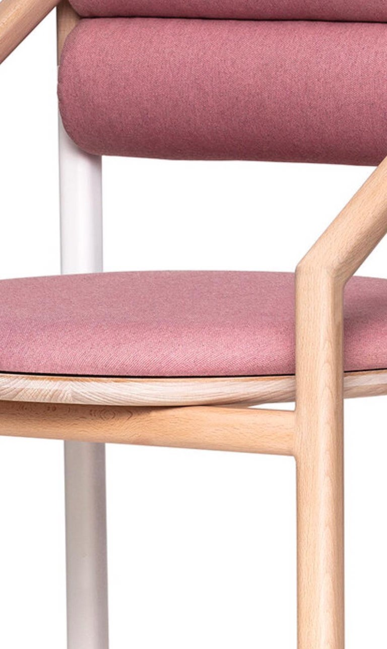 Hand-Crafted Mid-Century Modern Style Solid Minimal Wood Chair Upholstered in Textile For Sale