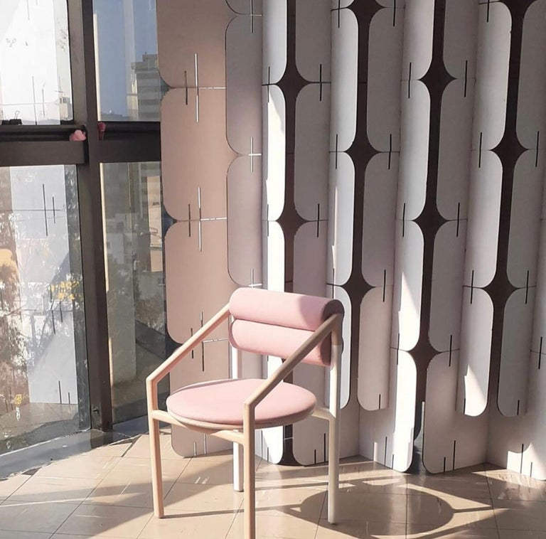 Contemporary Mid-Century Modern Style Solid Minimal Wood Chair Upholstered in Textile For Sale