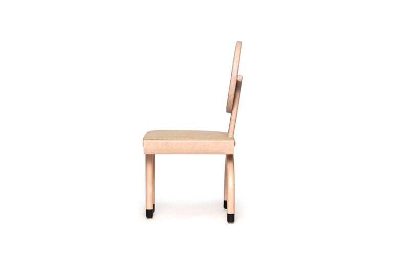 Mexican Mid-Century Modern Style Solid Minimal Wood Chair with Woven Cane Backboard For Sale