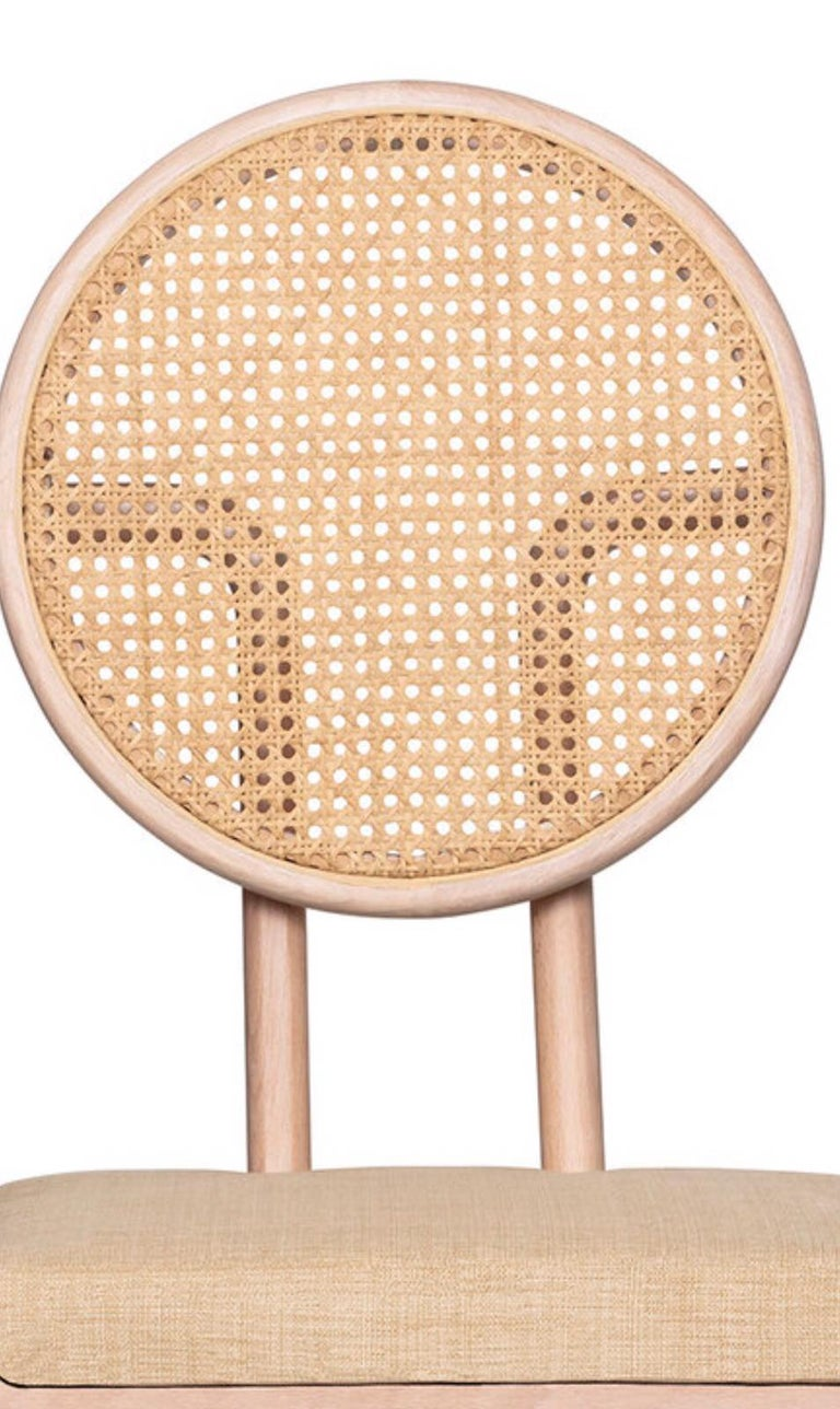 Hand-Crafted Mid-Century Modern Style Solid Minimal Wood Chair with Woven Cane Backboard For Sale
