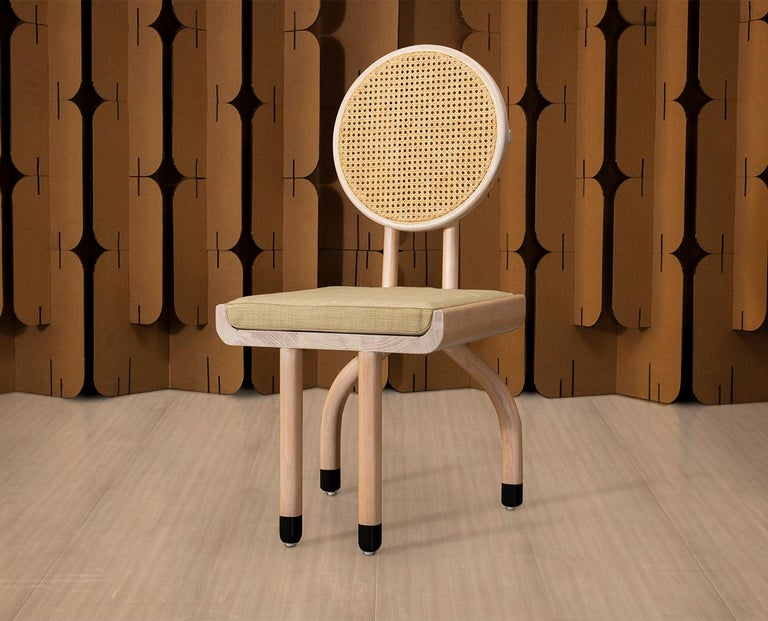 Mid-Century Modern Style Solid Minimal Wood Chair with Woven Cane Backboard In New Condition For Sale In Atizapan, MX