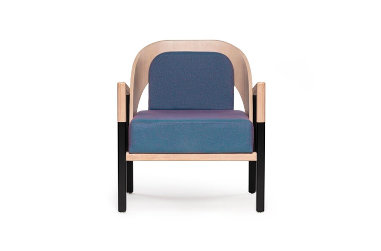 Mexican Mid-Century Modern Style Solid Wood Armchair Upholstered in Cerulean Textile For Sale
