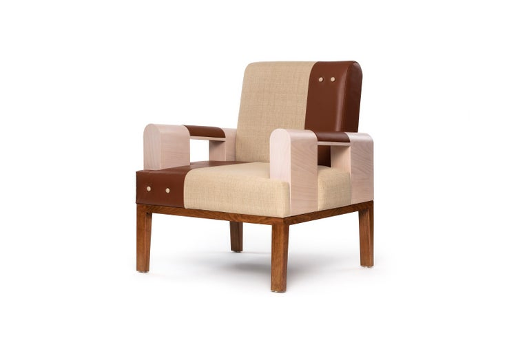 Irregular lines on the armrests add a touch of accent and character to this piece. Our Isu armchair feature high quality leather and unique textile textures and colors. Also customizable for loveseat and sofa.  Solid beechwood frame. Natural