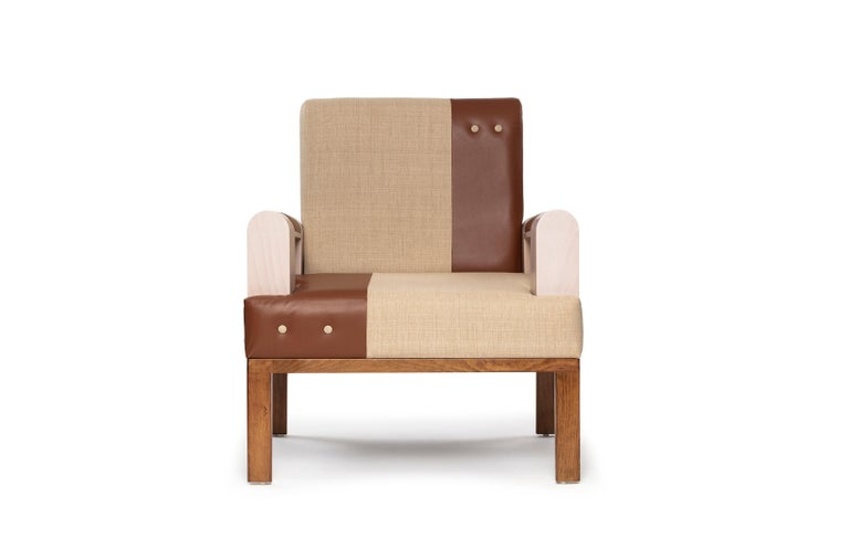 Mid-Century Modern Midcentury Modern Style Solid Wood Armchair Upholstered in Textile and Leather For Sale