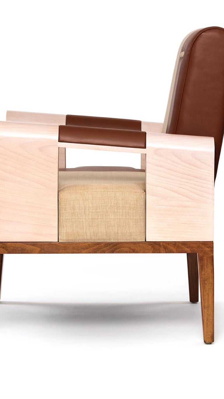 Mexican Midcentury Modern Style Solid Wood Armchair Upholstered in Textile and Leather For Sale