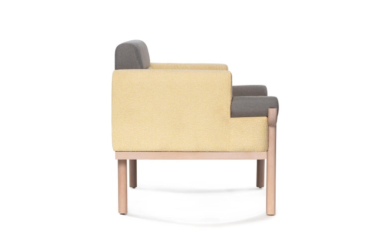 Add a little statement like this armchair to your living room or office. The Youban armchair features long legs with a round top that supports the design of the armrest. Unique textures and pastel colors blend to give you an exquisite design. Also