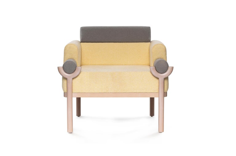 Mexican Mid-Century Modern Style Solid Wood Armchair Upholstered in Textile For Sale