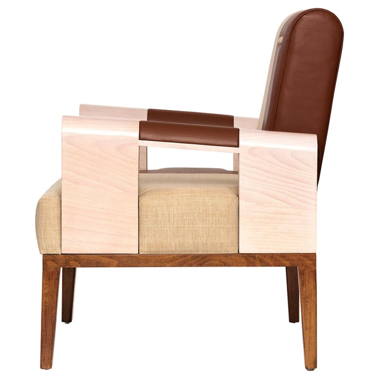 Midcentury Modern Style Solid Wood Armchair Upholstered in Textile and Leather For Sale