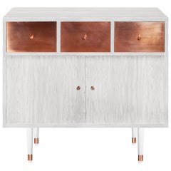 Midcentury Modern Style Vatnafjoll Cabinet or Credenza Ash Veneer, Copper, Wood