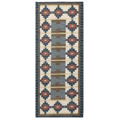 Mid-Century Modern Swedish Geometric Wool Runner by Ida Rydelius
