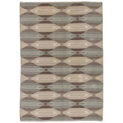 Mid-Century Modern Swedish Rug in Stone Grey, Ivory, Sand, and Walnut