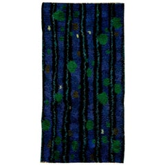 Mid-Century Modern Swedish Rya Rug in Lapis Blue, Emerald Green, and Black