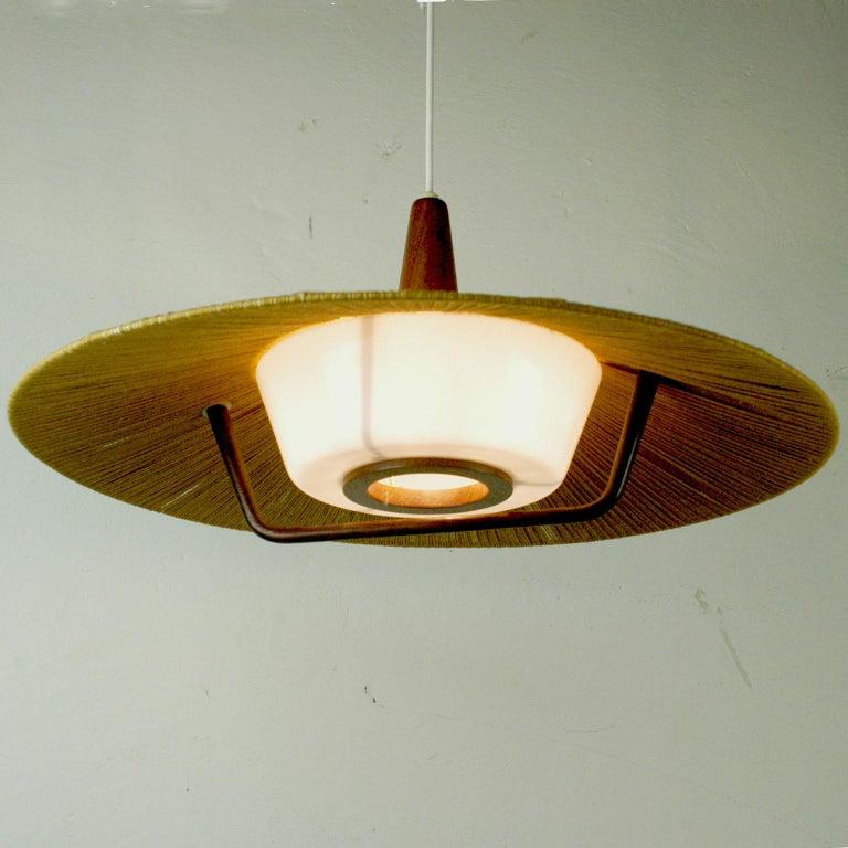 German Midcentury Modern Teak, Cord and Perspex Pendant Lamp by Temde For Sale