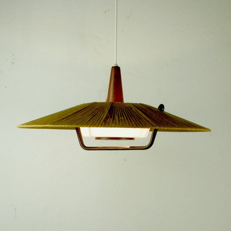 Midcentury Modern Teak, Cord and Perspex Pendant Lamp by Temde In Good Condition For Sale In Vienna, AT
