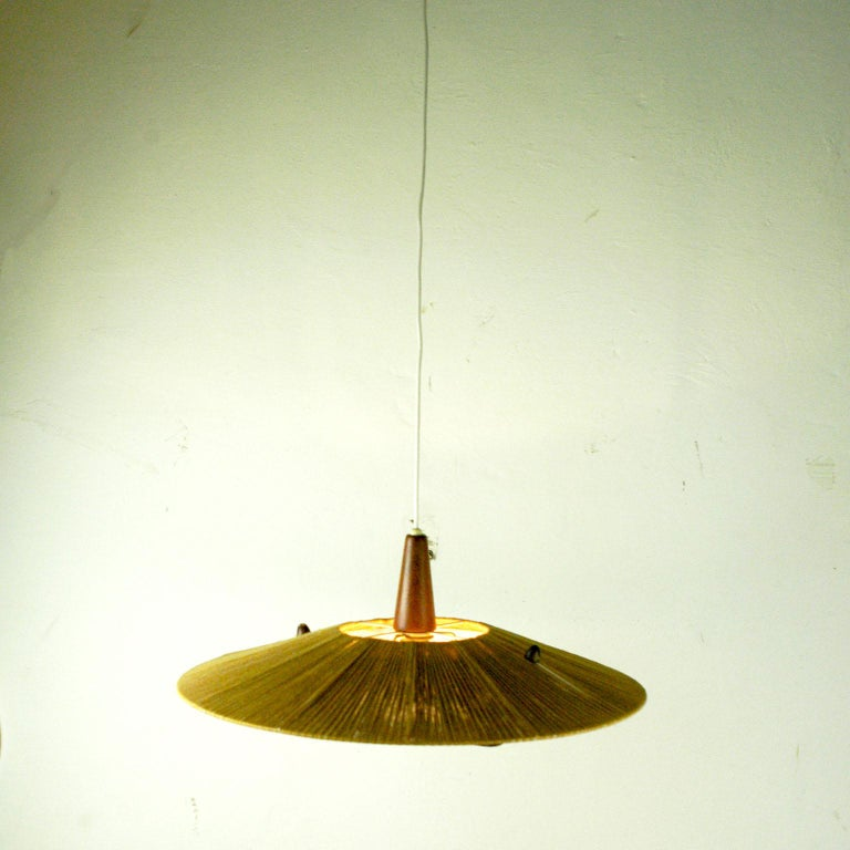 Mid-20th Century Midcentury Modern Teak, Cord and Perspex Pendant Lamp by Temde For Sale