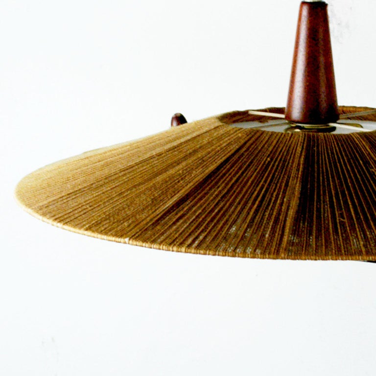Midcentury Modern Teak, Cord and Perspex Pendant Lamp by Temde For Sale 1