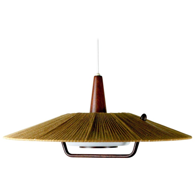 Midcentury Modern Teak, Cord and Perspex Pendant Lamp by Temde For Sale