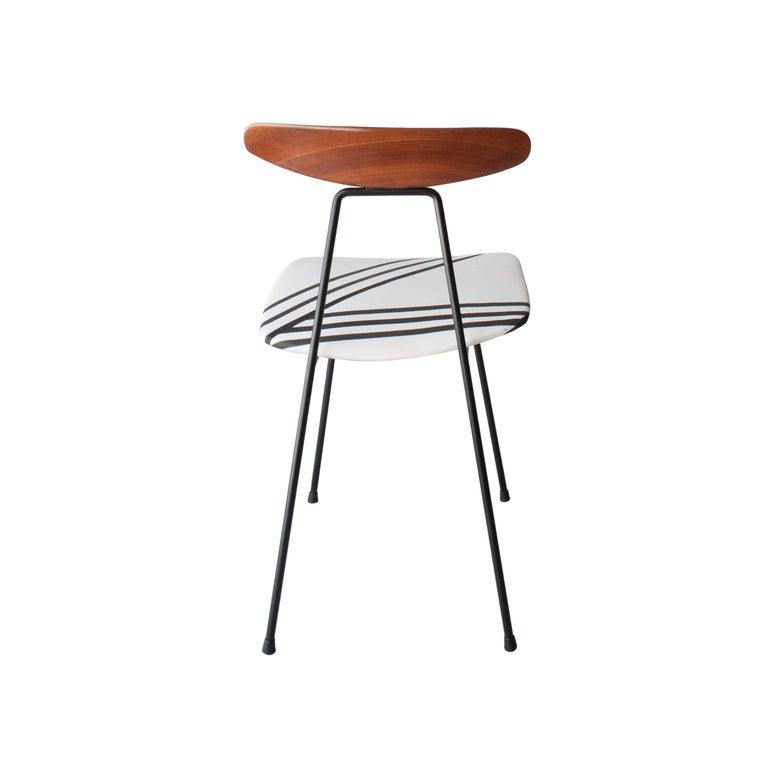 Mid-20th Century Mid-Century Modern Teak Iron White Black Set of Six Italian Chairs, 1950 For Sale