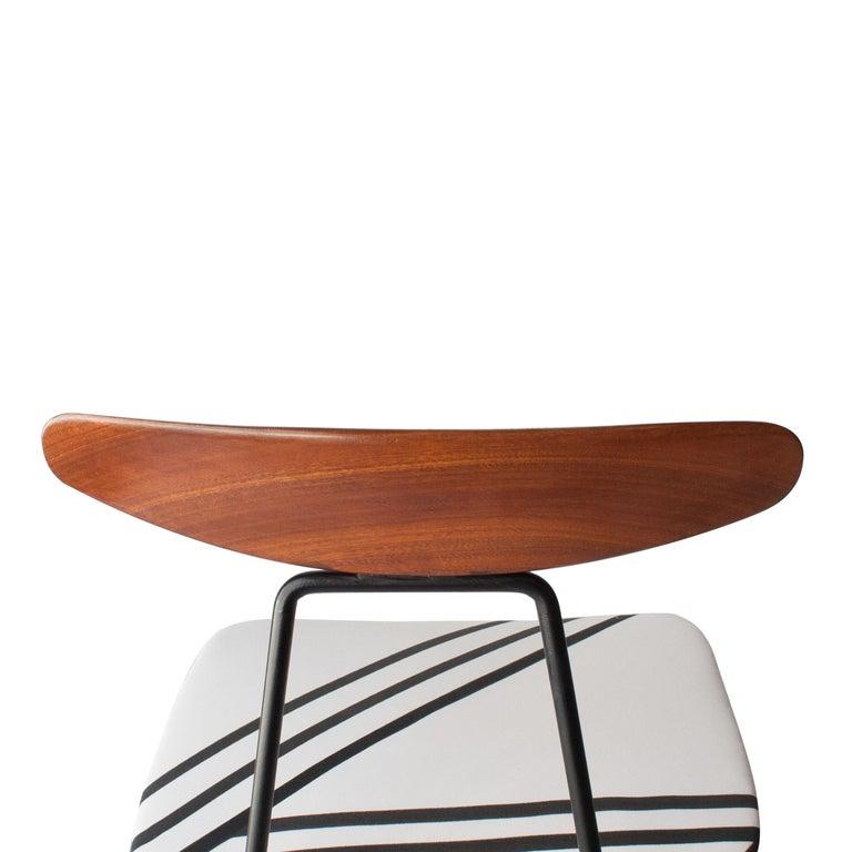 Mid-Century Modern Teak Iron White Black Set of Six Italian Chairs, 1950 For Sale 1
