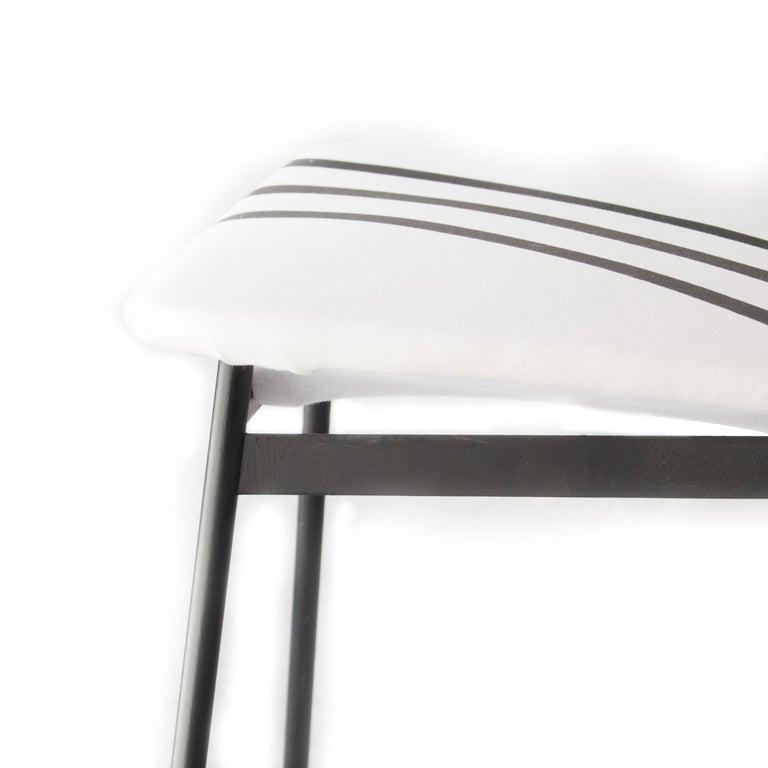 Mid-Century Modern Teak Iron White Black Set of Six Italian Chairs, 1950 For Sale 3
