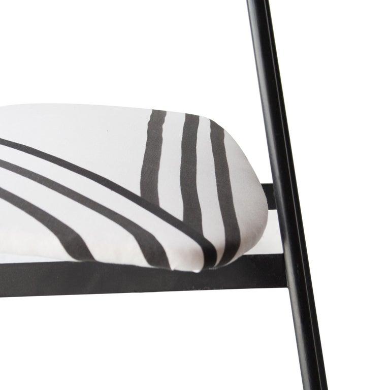 Mid-Century Modern Teak Iron White Black Set of Six Italian Chairs, 1950 For Sale 4