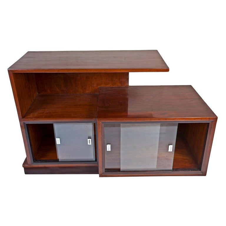 Midcentury Modern Teak Wood Credenza Shelves with Glass Panels For Sale