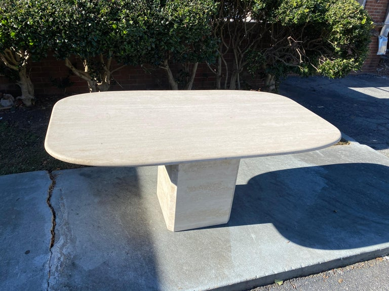Great quality Mid-Century Modern travertine dining table. Could be used as a desk or conference table.