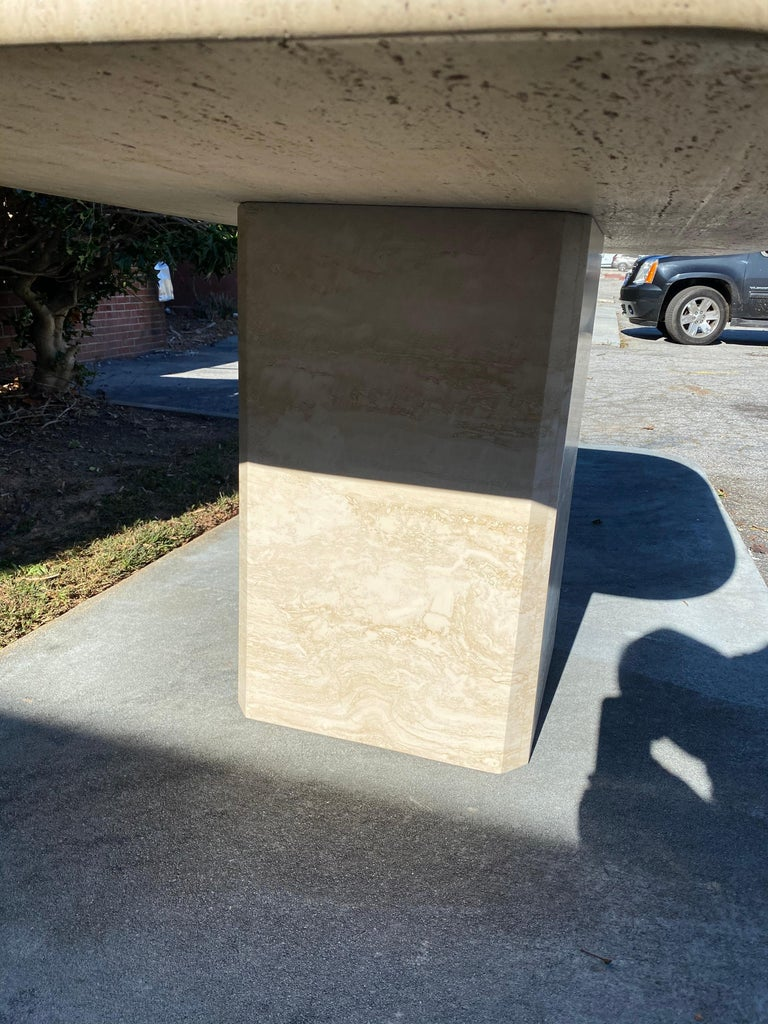 Mid-Century Modern Travertine Dining Table or Desk In Good Condition For Sale In Charleston, SC