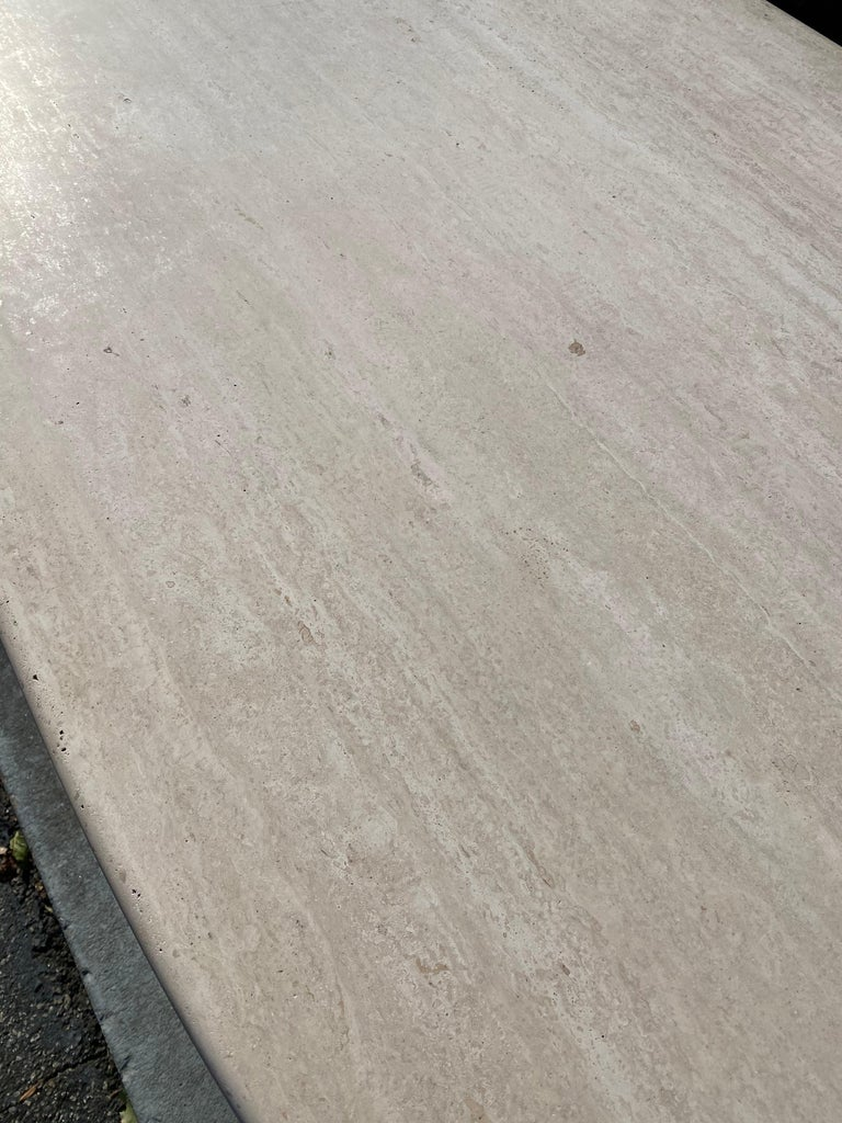 Mid-Century Modern Travertine Dining Table or Desk For Sale 1
