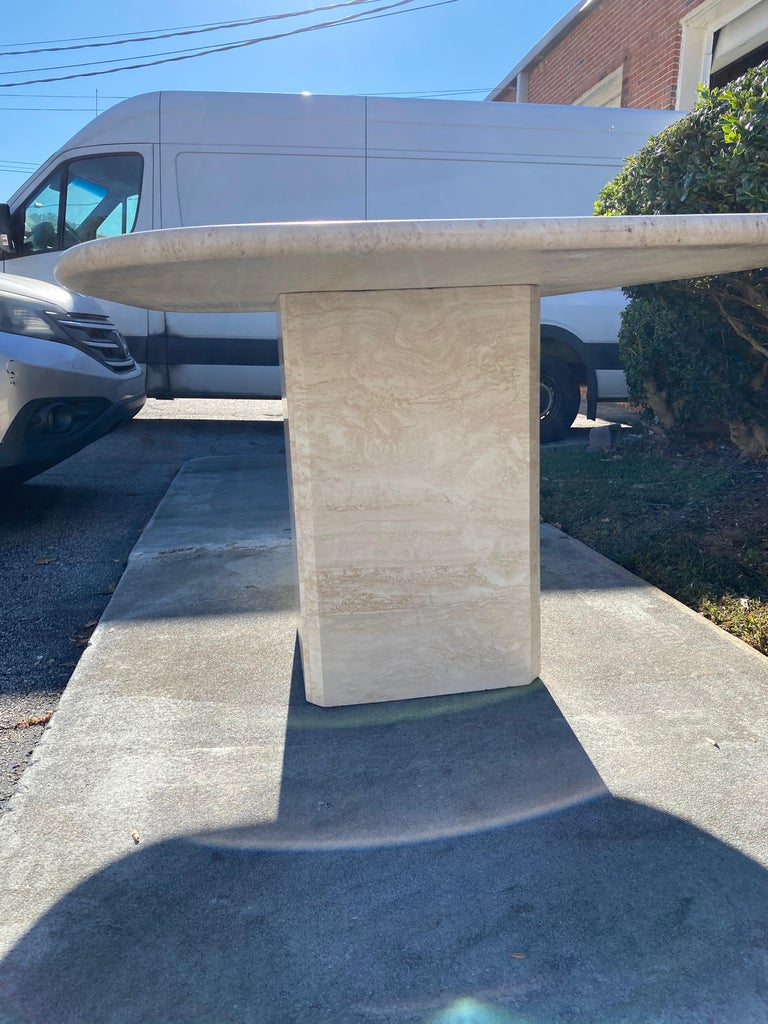 Mid-Century Modern Travertine Dining Table or Desk For Sale 4