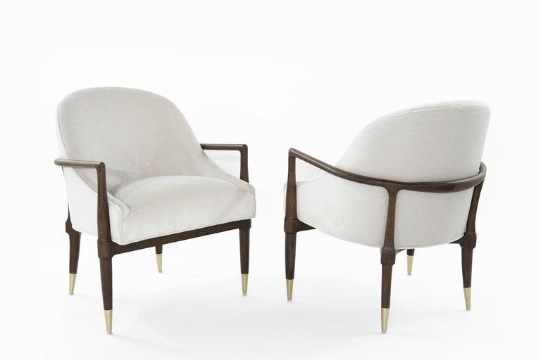American Mid-Century Modern Walnut Lounge Chairs, circa 1950s For Sale