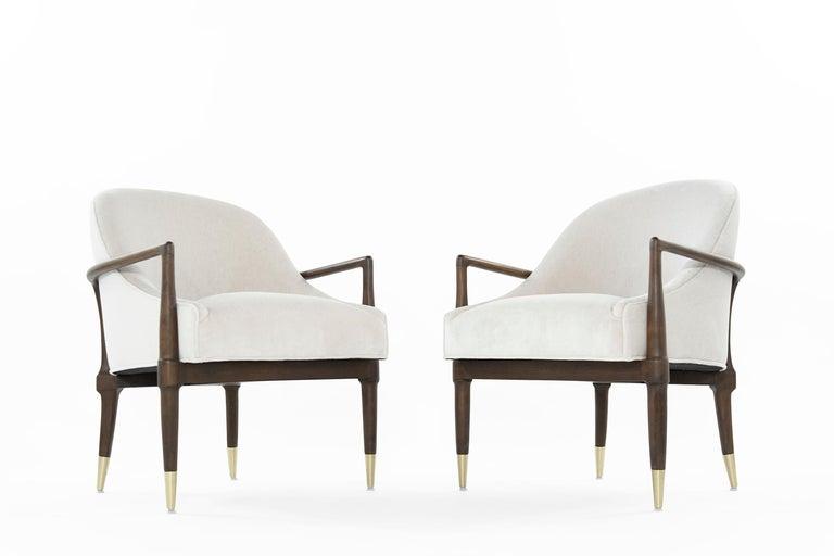 20th Century Mid-Century Modern Walnut Lounge Chairs, circa 1950s For Sale