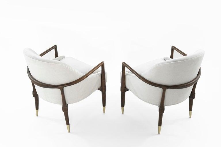 Brass Mid-Century Modern Walnut Lounge Chairs, circa 1950s For Sale