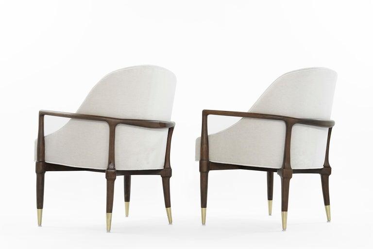 Mid-Century Modern Walnut Lounge Chairs, circa 1950s For Sale 2