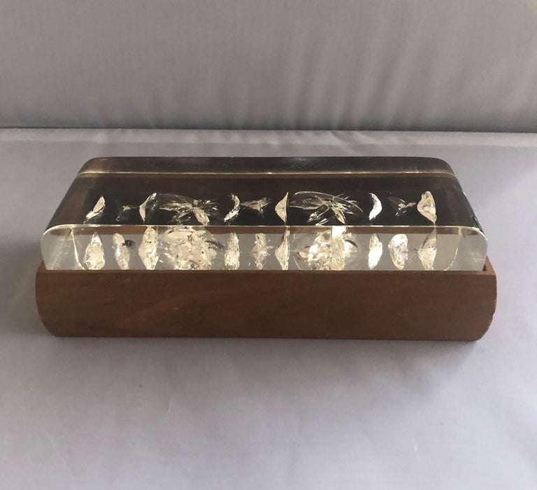 Mid-Century Modern Walnut and Lucite Trinket Box For Sale 3